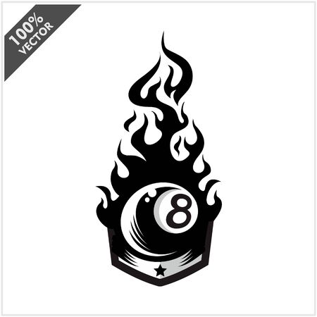 Billiard 8 ball flame badge logo vector
