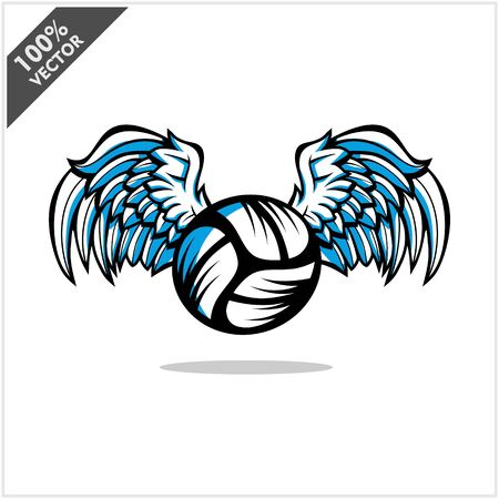 Volleyball ball wing logo vector