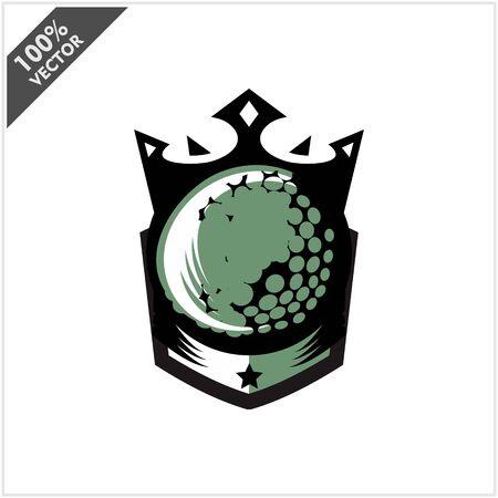 Golf Ball King Logo Vector Stock Illustratie