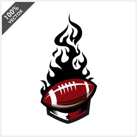 Football ball flame badge logo vector