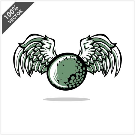 Golf ball wing logo vector Archivio Fotografico - 130668823