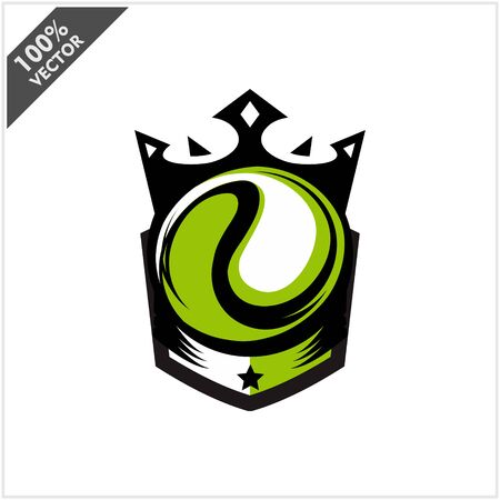 Tennis Ball King Logo Vector Stock Illustratie