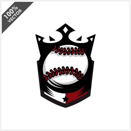 Baseball Softball Ball King Logo Vector