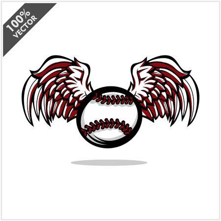 Baseball ball wing logo vector