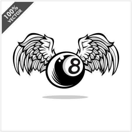 Billiard 8 ball wing logo vector