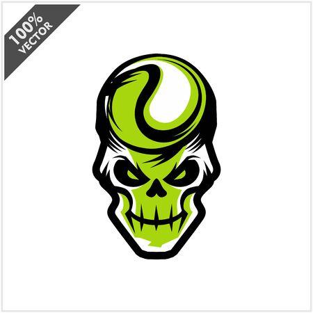 Tennis skull Head Logo Vector