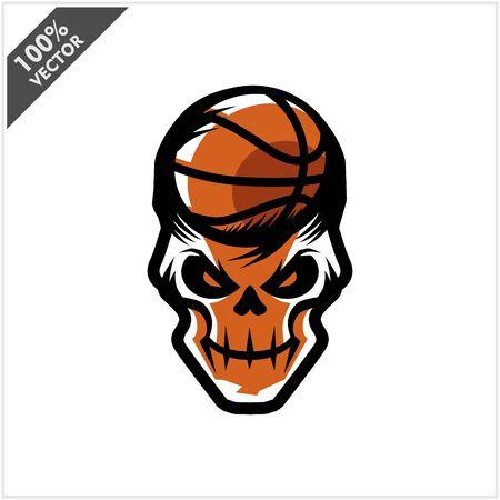 Basketball skull Head Logo Vector Stock Illustratie