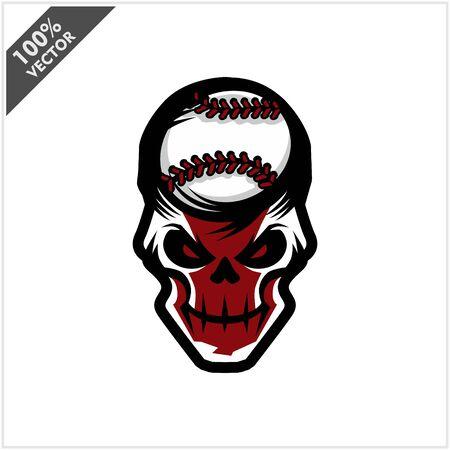 Baseball skull Head Logo Vector Stock Illustratie