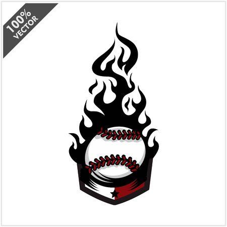 Baseball ball flame badge logo vector Stock Illustratie