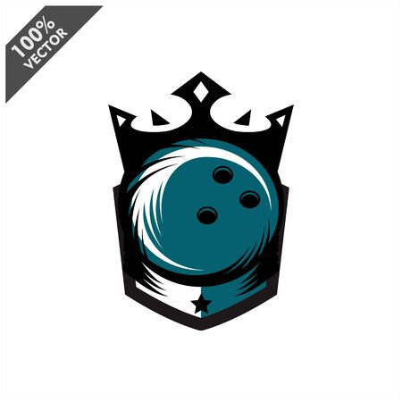 Bowling Ball King Logo Vector Stock Illustratie