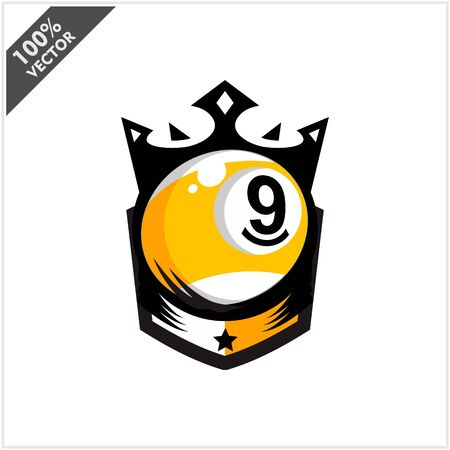 Billiar 9 Ball King Logo Vector