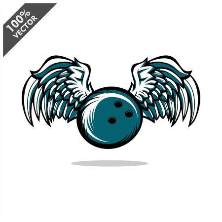Bowling ball wing logo vector Stock Illustratie