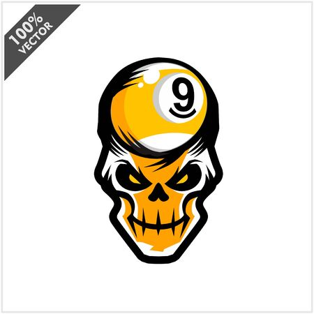 Billiard 9 ball skull Head Logo Vector Stock Illustratie