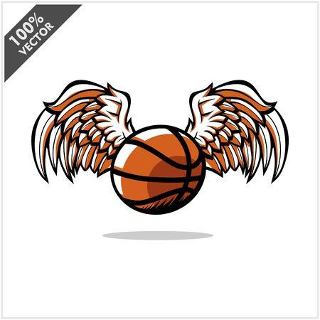 Basketball ball wing logo vector