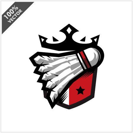 Badminton Ball King Logo Vector Stock Illustratie