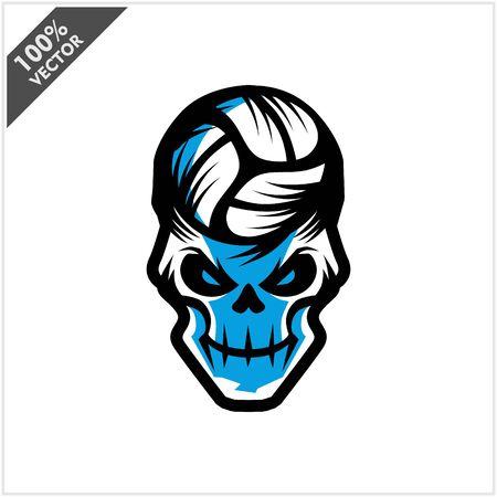 Volleyball skull Head Logo Vector