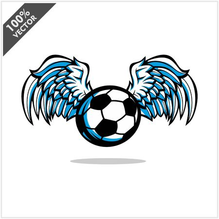 Soccer ball wing logo vector
