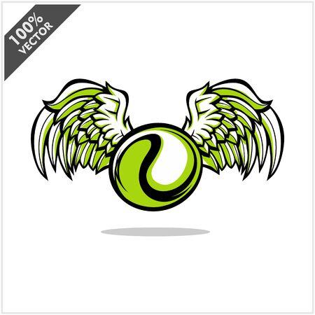 Tennis ball wing logo vector Stock Illustratie