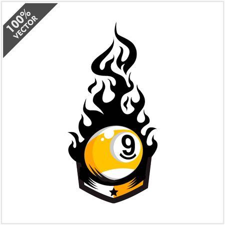 Billiard 9 ball flame badge logo vector