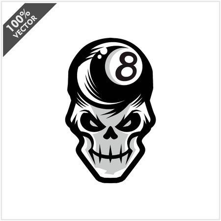 Billiard 8 ball skull Head Logo Vector