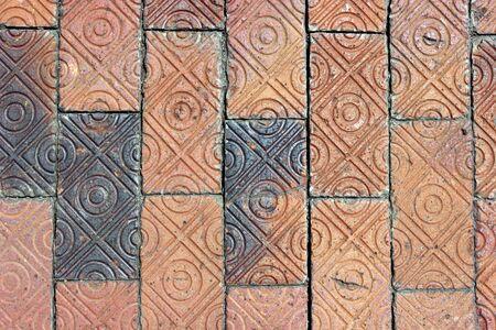 schemes: Closeup of brick path.