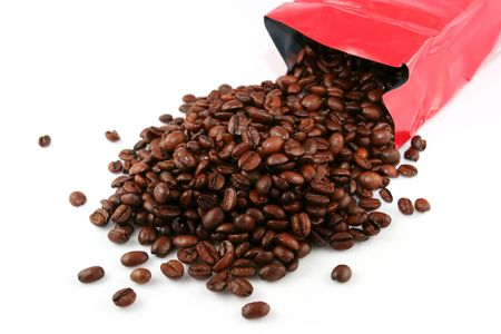 caffiene: Bag of fresh coffee beans