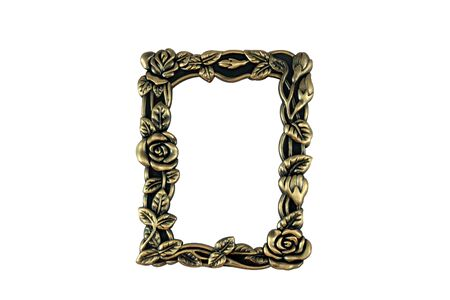 Closeup of vintage brass frame on white background.  Hand drawn clipping path included for maximum flexibility.