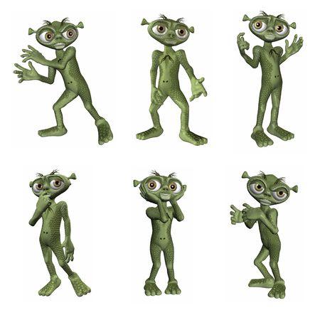 3D Renders of cartoon alien.  Six different poses.