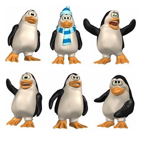 pinguino caricatura: 3D rinde de ping�ino de la historieta. Seis diversas actitudes.