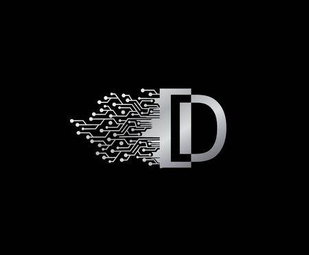 Digital Network D Letter Logo Icon, Metal D Data Design.