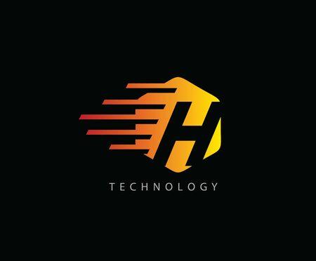Fast Techno H Letter Logo Icon , Hexagon Symbol. 版權商用圖片 - 143035326