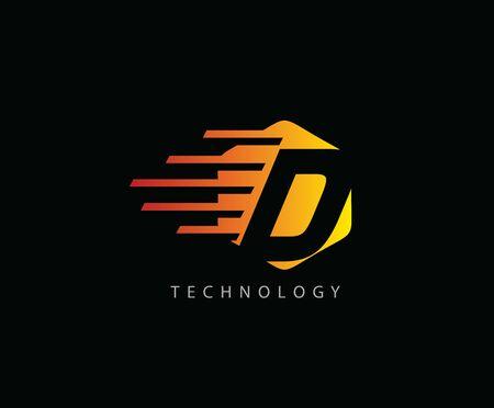 Fast Techno D Letter Logo Icon , Hexagon Symbol. 版權商用圖片 - 143035337