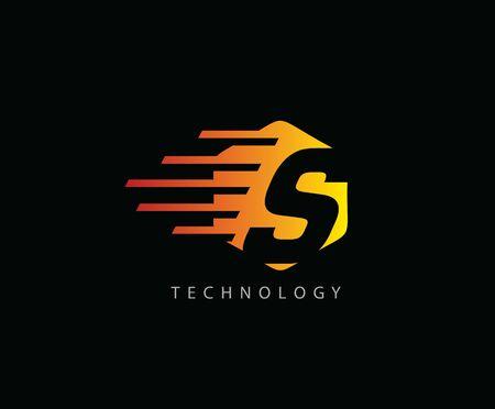 Fast Techno S Letter Logo Icon , Hexagon Symbol. 版權商用圖片 - 143035338