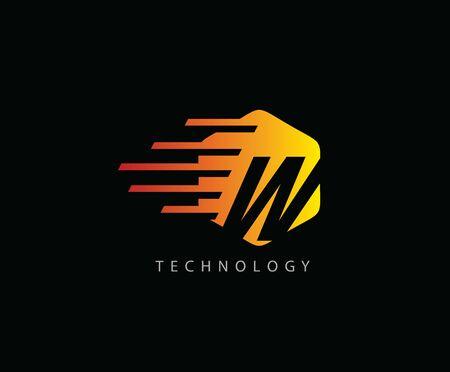 Fast Techno W Letter Logo Icon , Hexagon Symbol. 版權商用圖片 - 143035345