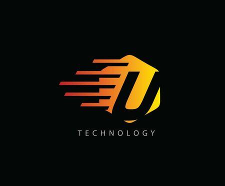 Fast Techno U Letter Logo Icon , Hexagon Symbol. 版權商用圖片 - 143035362