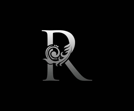 Silver R letter luxury beauty flourishes monogram logo Vectores