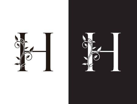 Initial H letter luxury beauty flourishes ornament monogram logo Logos