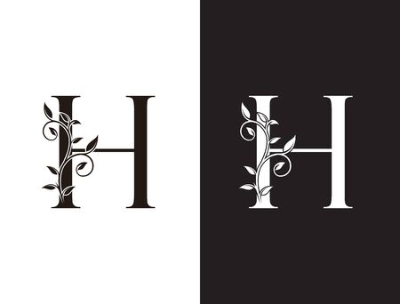 Initial H letter luxury beauty flourishes ornament monogram logo