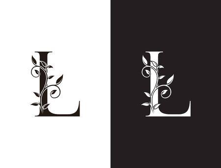 Initial L letter luxury beauty flourishes ornament monogram logo