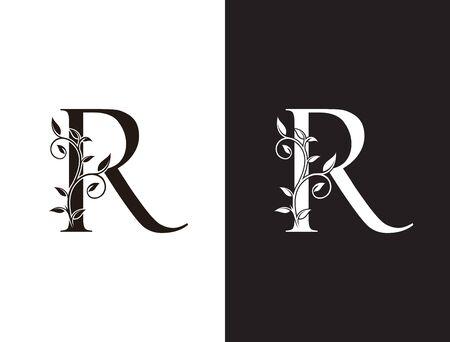 Initial R letter luxury beauty flourishes ornament monogram logo