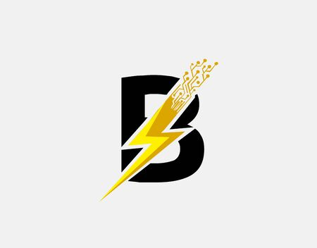 Flash B Letter Logo Icon, Electrical Bolt With Initial B Letter Logo Design.