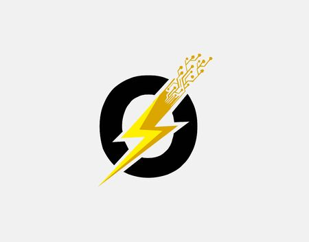 Flash O Letter Logo Icon, Electrical Bolt With Initial O Letter Logo Design.