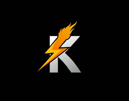 Fire Flash K Letter Logo Icon, Electrical Bolt With Initial K Letter Logo Design.