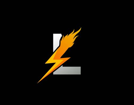 Fire Flash L Letter Logo Icon, Electrical Bolt With Initial L Letter Logo Design. Иллюстрация