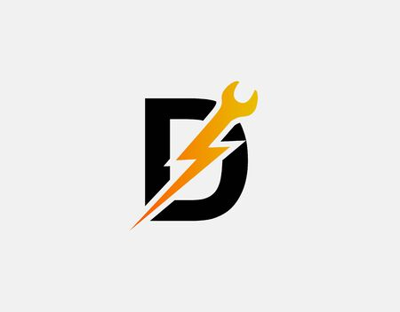 Fast Repair D Letter Logo Icon, Electrical Bolt With Initial E Design.