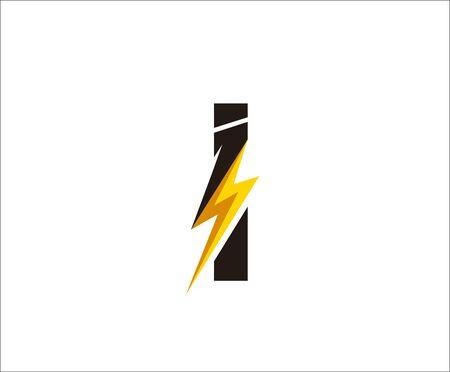 Initial I Flash Power Logo Icon