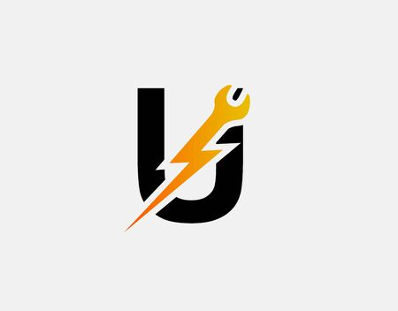 Fast Repair U Letter Logo Icon, Electrical Bolt With Initial U Design.
