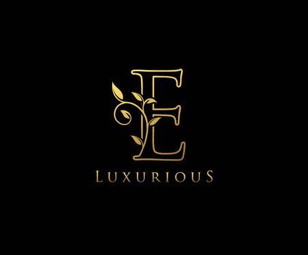 Gold E letter luxury beauty flourishes ornament monogram logo