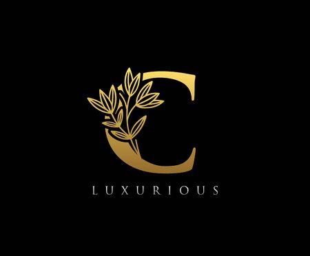 Gold C letter luxury beauty flourishes ornament monogram logo
