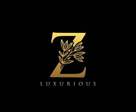 Gold Z letter luxury beauty flourishes ornament monogram logo Logos